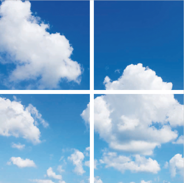 FOTOPRINT afbeelding wolk verdeeld over 4 panelen 595 x 595 mm-0