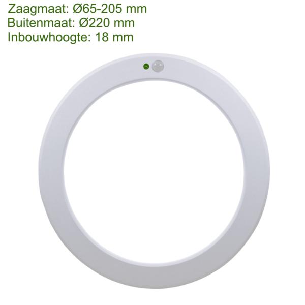 LED IN- EN OPBOUW DOWNLIGHT MET BEWEGINGS- EN LICHTSENSOR Ø220MM-0