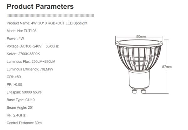 GU10 MR16 LED SPOT RGB+CCT 4W -4670