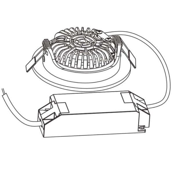 LED INBOUWSPOT 5W DIM to WARM ZWART KLASSE 2-5923