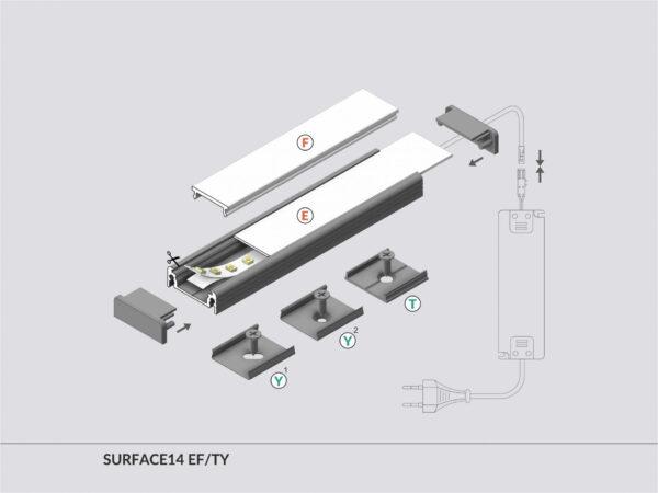PROFIEL SURFACE 14MM 2MT-2989