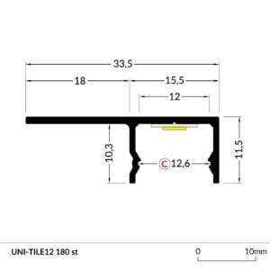 PROFIEL UNI-TILE 12MM 2M-5184