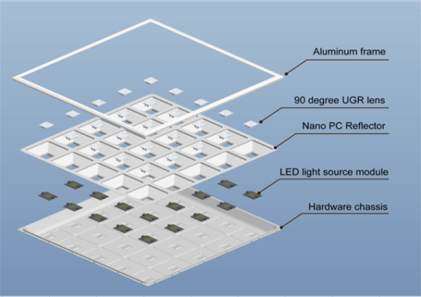 LED PANEEL GRILLE 60X60CM UGR13-3624