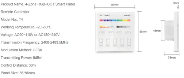 MI-LIGHT 4 ZONE RGB+CCT PANEL REMOTE (220Volt)-4730