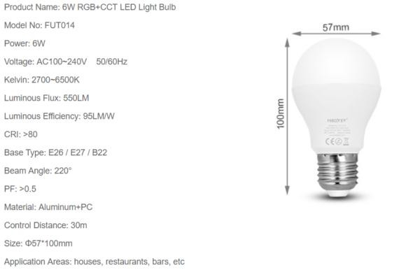 LED LAMP E27 6W RGB+CCT-4706