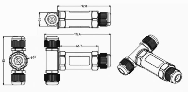 5 PIN T-VORM WATERPROOF CONNECTOR IP67-5588