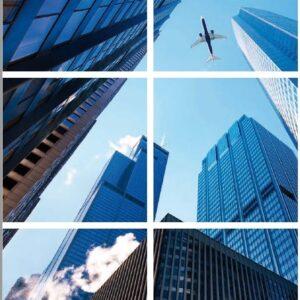 FOTOPRINT afbeelding wolkenkrabber verdeeld over 6 panelen 595 x 595 mm-0