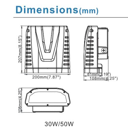 LED WALL PACK 50W 120°-5972