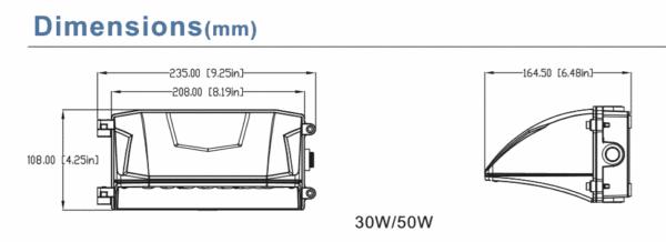 LED WALL PACK 50W 130°x 60°-5985